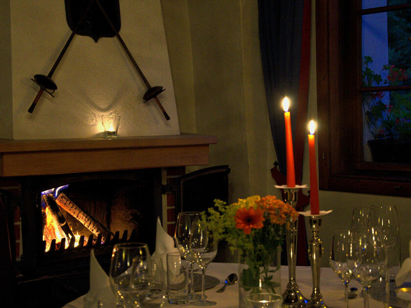 Candlelight dinner in the historic Knights' Hall at Schloss Thannegg